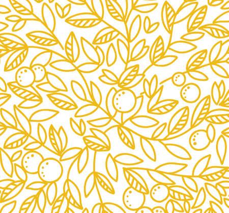 Foliage tree pattern background. Orange or tangerine the fruit leaves. Orange colour line contour. Sketch vector Illustration hand-drawn. Illustration