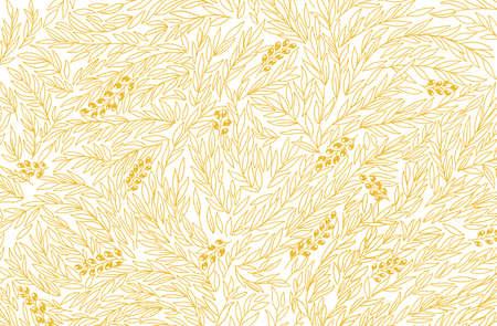 Olive Tree Foliage pattern. Oil wrapper background. Golden color leaves line contour. Vector Illustration hand-drawn. Illustration