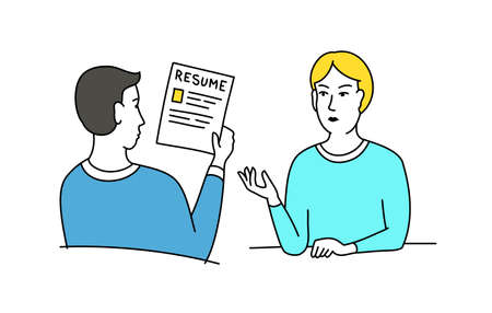 HR interview sketch. Talking with a job applicant. Male recruiter hired, reading resume. Vector cartoon.