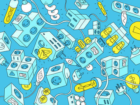 Electrics and electrical appliances. Doodle background. Wires, bulbs and switches. Freehand vector hand-drawn sketch.