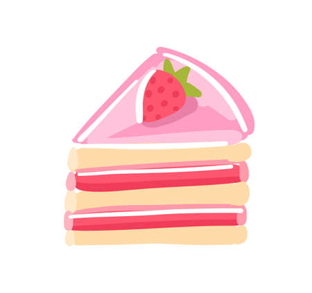 Piece of cake with strawberrie. Pink jam cream red topping jelly. Sweet dessert. Vector illustration. Hand drawn sketch.