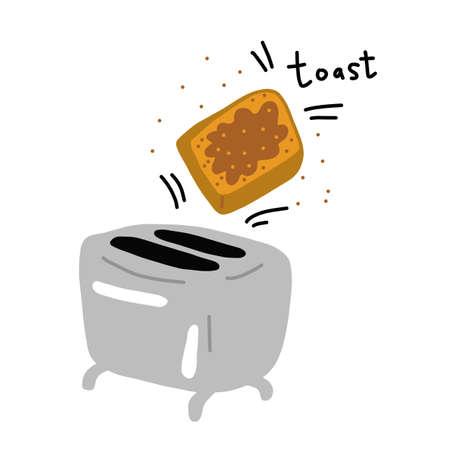 Toaster and slice of bread. Kitchen equipment. Breakfast toast. Hand drawn sketch. Vector poster. Cartoon illustration.