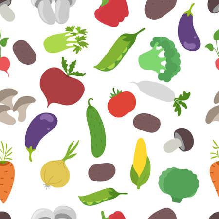 Vegetable set. Market garden harvest. Seamless pattern background. Vector flat sketch illustration. Growing agriculture.
