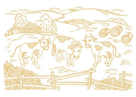 Dairy farm is livestock. Three cows in the barnyard. Hay fodder. Village rural countryside landscape. Rustic fence. Hand drawn cartoon sketch. Contour vector line.