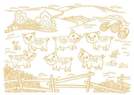 Pig farm is livestock. Three cows in the barnyard. Hay fodder. Village rural countryside landscape. Rustic fence. Hand drawn cartoon sketch. Contour vector line. Vettoriali