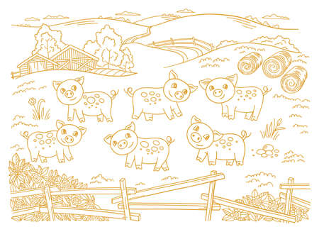 Pig farm is livestock. Three cows in the barnyard. Hay fodder. Village rural countryside landscape. Rustic fence. Hand drawn cartoon sketch. Contour vector line.