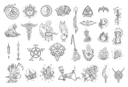 Witchcraft kit. Magic occult and alchemical symbols. Halloween mysticism set. Esoteric astrological. Hand drawn sketch vector illustration. Banque d'images - 156330453
