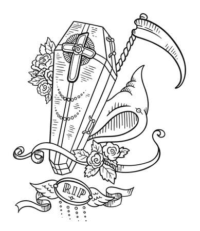 Coffin and flowers. Death scythe, hood. The funeral symbols. Halloween mysticism. Hand drawn sketch vector illustration. Banque d'images - 156330456