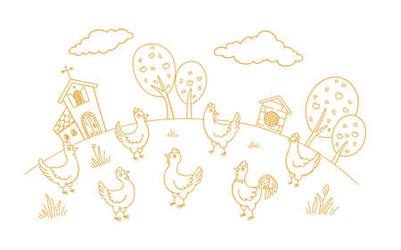 Poultry farm henhouse sketch. Free grazing. Chicken coop factory. Rustic barnyard. Village rural countryside landscape. Hand drawn contour vector line. Illustration