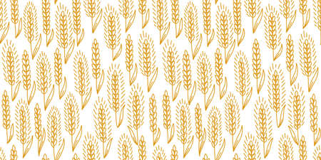 Cereal field seamless pattern background. Bread wrapper. Ears of rye or wheat. Agriculture grain straw. Orange color contour line vector.