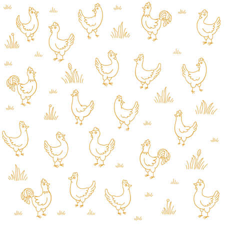 Poultry farm henhouse sketch. Free grazing. Chicken coop factory. Rustic barnyard. Village rural countryside landscape. Hand drawn contour vector line. Vettoriali