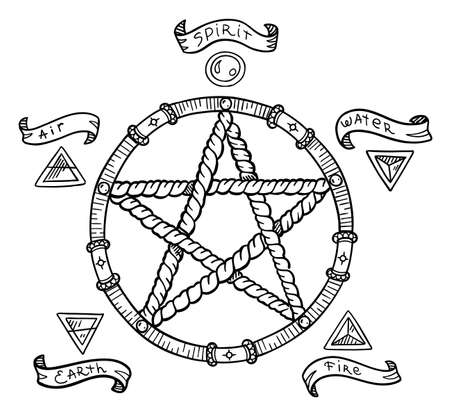 Pentagram symbol. Magic pentacle circle. Mystic and occult symbols. Halloween and esoteric witchcraft. Hand drawn sketch vector line. Banque d'images - 156531566