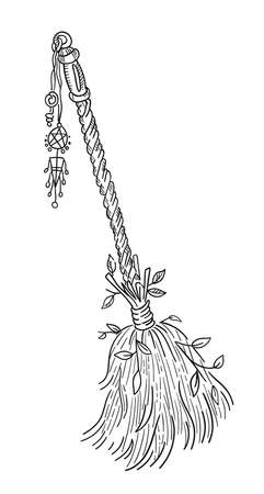 Witch broom. Magic flying devices. Witches mystic and occult symbols. Halloween and esoteric witchcraft. Hand drawn sketch vector engraved line.