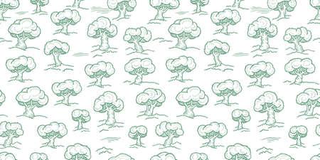 Tree forest pattern. Orchard garden wrapper seamless background. Light green color engraved sketch. Line contour. Vector Illustration.