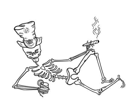 Skeleton in a hat with a cigar and a drink. Halloween symbols. Hand drawn sketch vector line. Banque d'images - 156531572