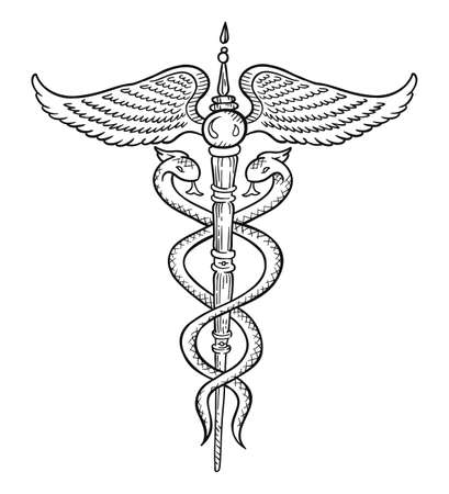 Caduceus symbol. Wand, or staff with two snakes intertwined around it. Hermes or Mercury Greco-Egyptian mythology. Hand drawn sketch vector illustration.