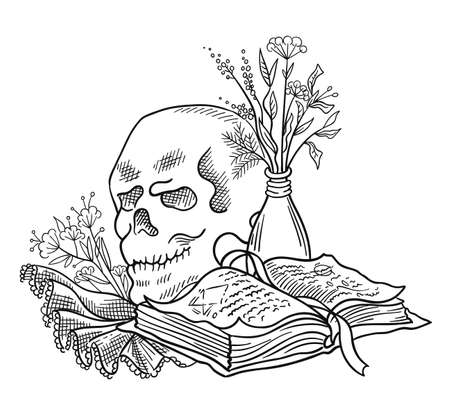 Human skull and a book with spells. Halloween witchcraft magic. Secret knowledge. Hand drawn sketch vector. Mystic and occult illustration.