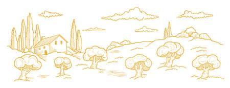 Rural landscape. Hand drawn sketch. Orchard Garden trees. Village field. Countryside. Contour vector line. Horizontal banner.