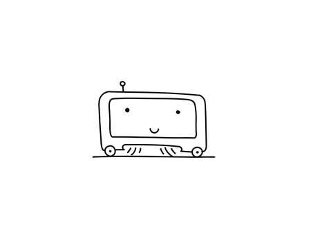 Cute Vacuum robot cleaner. Sketch character. Illustration hand-drawn. Tidy up cleaning.