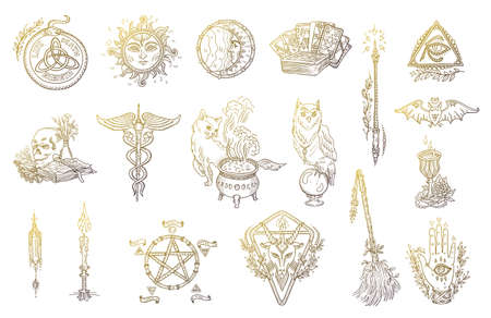 Halloween symbols set. Magic occult and alchemical. Witchcraft graphic kit. Hand drawn sketch vector illustration.
