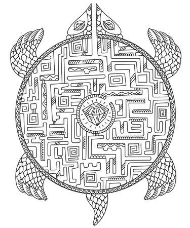 Turtle maze game. Animal puzzle labyrinth path. Ornamental silhouette turtle. Tattoo totem sketch. Hand drawn contour vector line sketch.