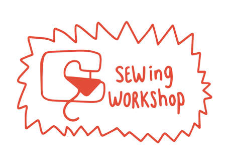 Sewing workshop. Sewing machine. Tailoring courses. Hand drawn sketch. Vector cartoon colored illustration.