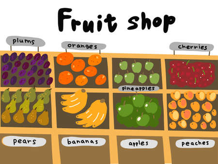 Street market. Fruits shop sketch set. Oranges apples bananas pineapples pears and plums. Hand drawn. Vector cartoon illustration. Vettoriali