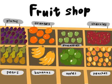 Street market. Fruits shop sketch set. Oranges apples bananas pineapples pears and plums. Hand drawn. Vector cartoon illustration. Иллюстрация