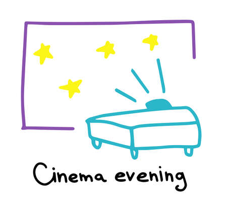 Cinema evening. Movie projector. Watching films. Hand drawn sketch. Vector cartoon colored illustration.