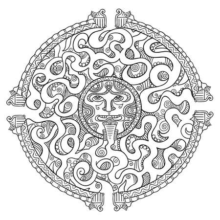 Round Mayan maze game. Puzzle labyrinth path. Ornamental silhouette. Tattoo totem. Hand drawn contour vector line sketch. Иллюстрация