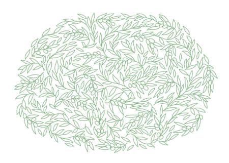 Olive Tree pattern. Olive-tree oil wrapper ellipse background. Golden color. Foliage leaves line contour. Vector Illustration.