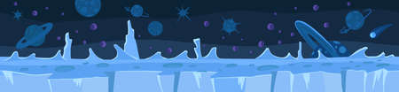 Cold ice planet. Game background. Seamless pattern. Landscape panorama. Unending vector flat. Horizontal banner. Antarctica winter. Vettoriali