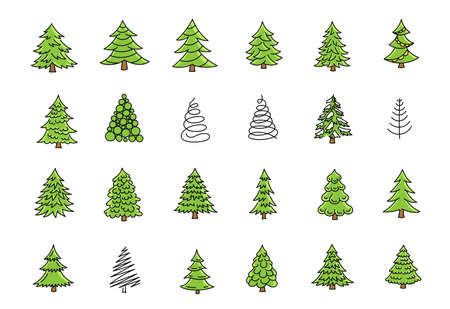 Little Christmas trees icon set. Green conifer spruce. New year fir-tree. Hand drawn sketches vector kit.