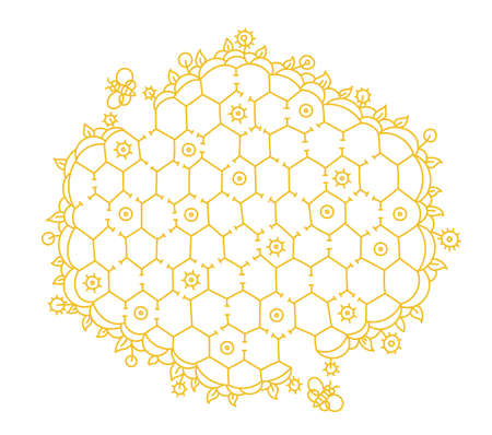 Bee hive maze game. Honeycomb puzzle labyrinth path. Hand drawn contour vector yellow line. Collecting honey. Vettoriali