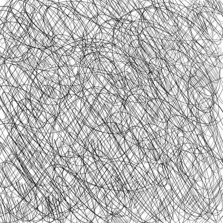 Pen tangled line pattern sketch. Hatched drawing picture. Hand drawn vector. Abstract background.