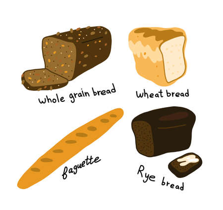 White and brown bread. Different types assortment Bakery shop. Hand drawn sketch. Vector cartoon. Vettoriali