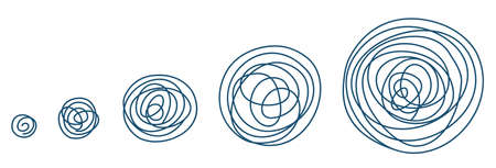 Round tangled line size set sketch. Pen Hatched drawing picture. Hand drawn vector. Abstract blue outline.