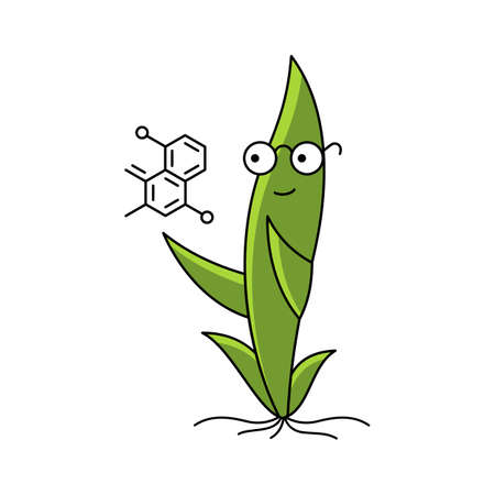 Fertilizers formula. Seedling plant mascot. Scientist character. Green sprout. Plant growing. Agricultural science. Vector flat.