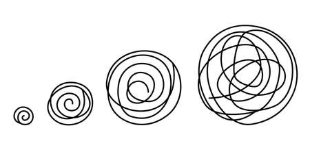 Round tangled line size set sketch. Pen hatched drawing picture. Hand drawn vector. Abstract blue curl outline.