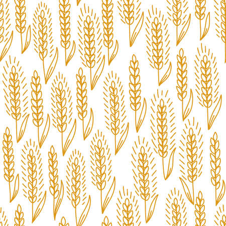 Cereal field. Wheat seamless pattern. Bread wrapper background. Ears of rye. Agriculture grain. Orange color contour line vector. Vetores