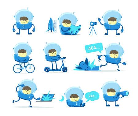 The boy plays an astronaut. Character set. Mascot cartoon. Playground games. Cartoon flat vector stickers.