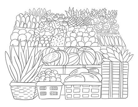 Street market. Fruits showcase. Grocery supermarket retail. Shop store. Hand drawn sketch. Vector illustration.  イラスト・ベクター素材
