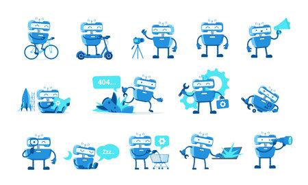 Robot mascot character set.