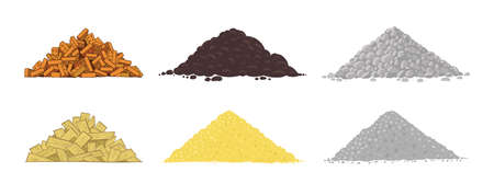 Set of Building material heaps. Used for construction. Pebble stones and bricks pile. Sand earth and boards. Boulders rocks. Vector illustration.