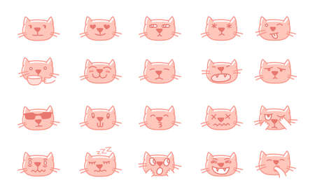 Cat set of pink stickers icons. Only kitty head. Character emoji emotions. Facial feline expression. Cheerful sad and angry. Vector flat illustration.