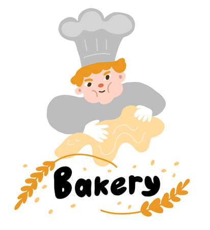 Character cartoon Baker or cook with the dough. Bakery banner shop. Poster sign. Hand drawn sketch. Vector cartoon.