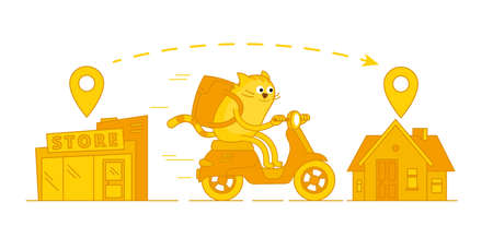 Character cat delivery service. From store to home. Pet mascot. On a motorbike. Vector cartoon illustration. Pizza and food delivery.