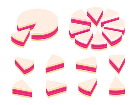 Pieces of pie cake infographics. Cut whole cake and its slice parts split up. Isometric view. Vector illustration set.