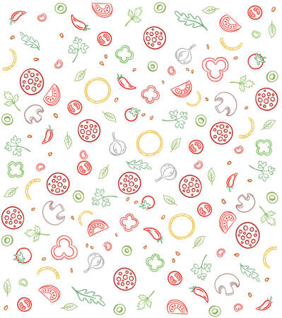 Pizza ingredients. Seamless pattern background. Sketch hand drawn color line illustration. Fast food.