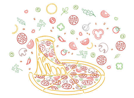 Pizza ingredients. Sketch hand drawn color line illustration. Fast food. Slice of pizza with cheese.
